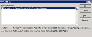 SCOM 2012 - Visio Integration Add-In Not Loading